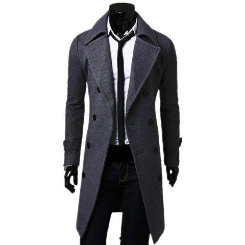 Buy Business Casual Trench Coat Washed Cotton Turndown Collar Jacket for Men
