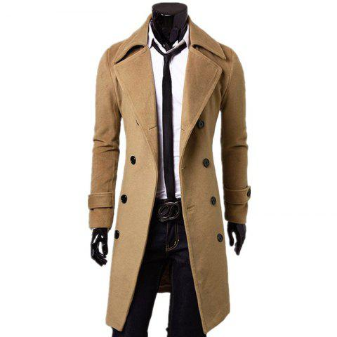 Store Business Casual Trench Coat Washed Cotton Turndown Collar Jacket for Men