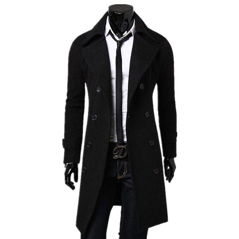 Best Business Casual Trench Coat Washed Cotton Turndown Collar Jacket for Men