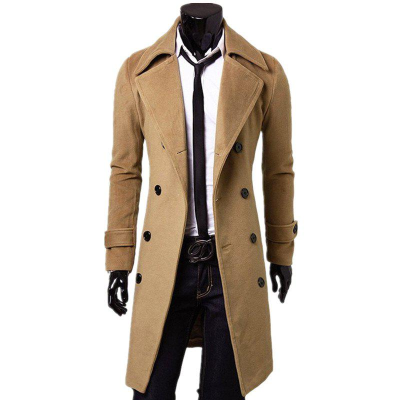 Hot Business Casual Trench Coat Washed Cotton Turndown Collar Jacket for Men