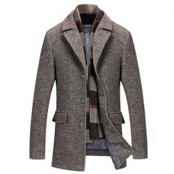Lapel Solid Color Coat Slim Men's Woolen Coat Windbreaker -
