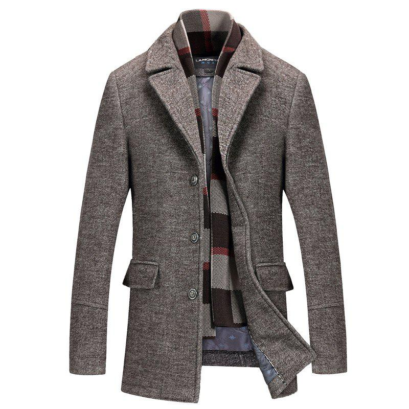 Chic Lapel Solid Color Coat Slim Men's Woolen Coat Windbreaker