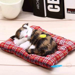 Stuffed Lovely Simulation Animal Doll Plush Sleeping Cats Toy with Sound -
