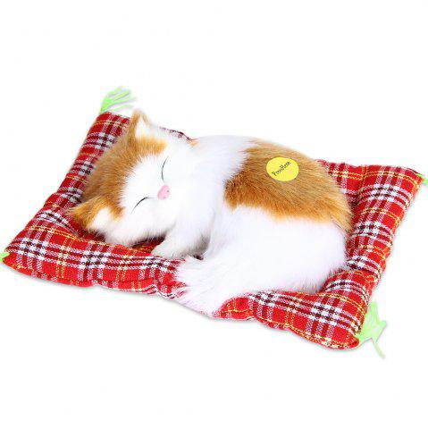 Affordable Stuffed Lovely Simulation Animal Doll Plush Sleeping Cats Toy with Sound