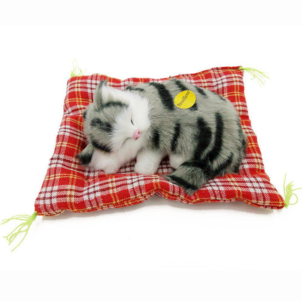 Cheap Stuffed Lovely Simulation Animal Doll Plush Sleeping Cats Toy with Sound