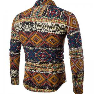 New Spring Fashion Personality Folk Style Printing Mens Long Sleeve Shirt CS04 -