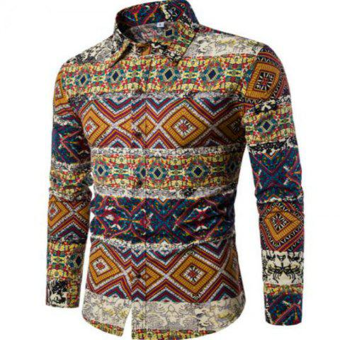 Outfit New Spring Fashion Personality Folk Style Printing Mens Long Sleeve Shirt CS04