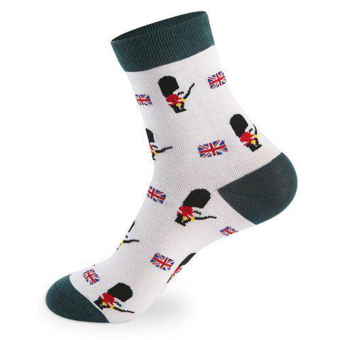 British Cartoon Pattern Knitted Socks - 5 Pairs