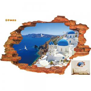 3D Wall Stickers Aegean Sealandscape Wallpaper Beach Murals Living Room Backgroud   Decor -
