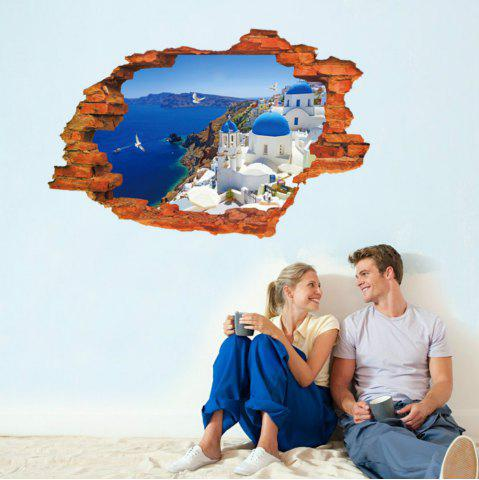Fancy 3D Wall Stickers Aegean Sealandscape Wallpaper Beach Murals Living Room Backgroud   Decor