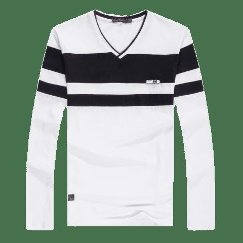 Discount Men'S Spliced Long Sleeved T-Shirts