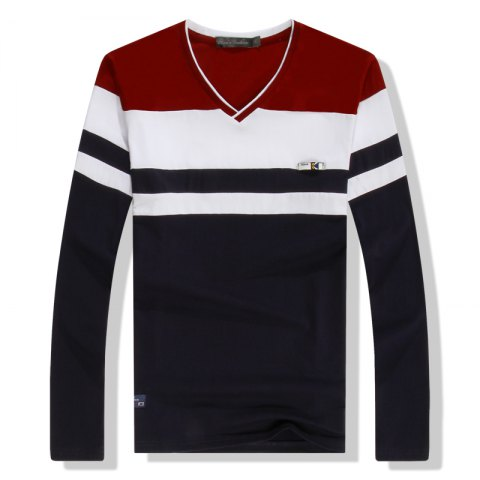 Chic Men'S Spliced Long Sleeved T-Shirts