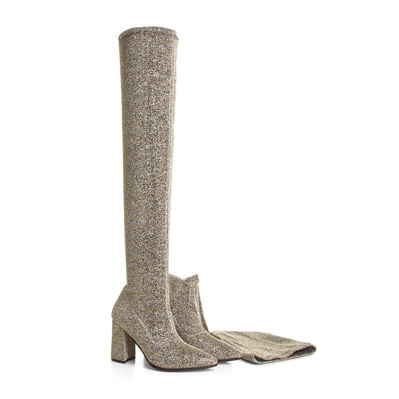 Latest Women'S Shoes PU Fall Winter Fashion Boots Boots Chunky Heel Pointed Toe Over The Knee Boots
