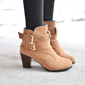 High Heel Coarse And Waterproof Platform Frosted Boot -