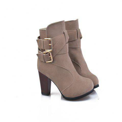 Chic High Heel Coarse And Waterproof Platform Frosted Boot