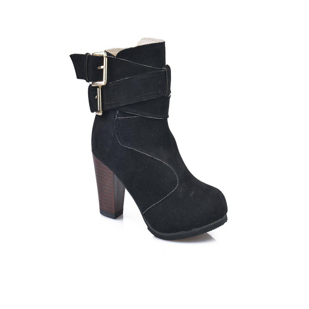 Hot High Heel Coarse And Waterproof Platform Frosted Boot