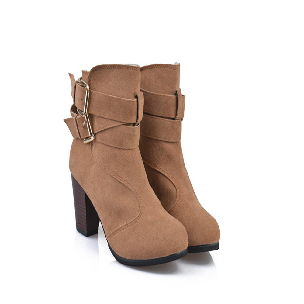 Outfits High Heel Coarse And Waterproof Platform Frosted Boot