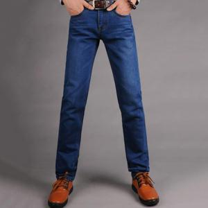 Men's Mid Rise Micro Elastic Jeans Pants Simple Straight Solid Jeans -