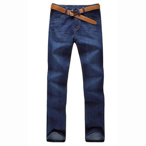 New Men's Mid Rise Micro Elastic Jeans Pants Simple Straight Solid Jeans