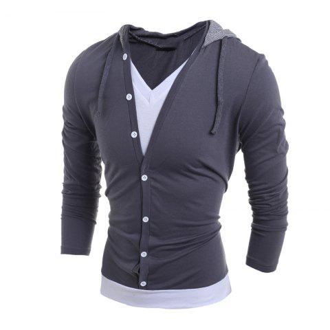 Unique Men'S Casual Daily Hoodie Solid Hooded Micro Elastic Polyester