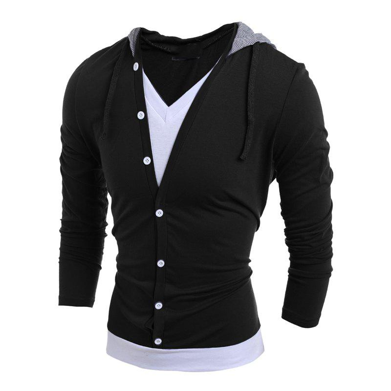 Shops Men'S Casual Daily Hoodie Solid Hooded Micro Elastic Polyester