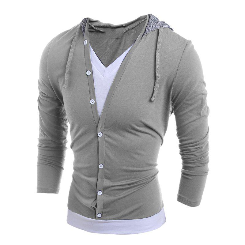 New Men'S Casual Daily Hoodie Solid Hooded Micro Elastic Polyester
