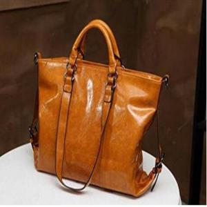 Retro Style Wax oil Cowhide Shoulder Bag Cross Body Bag Tote Handbag for Women Light Brown -