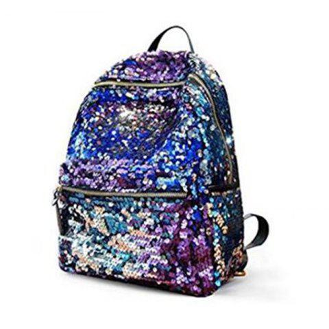 Fashion Women Sequins Backpack Fashion Casual Scholl Bag Purse Satchel Blue