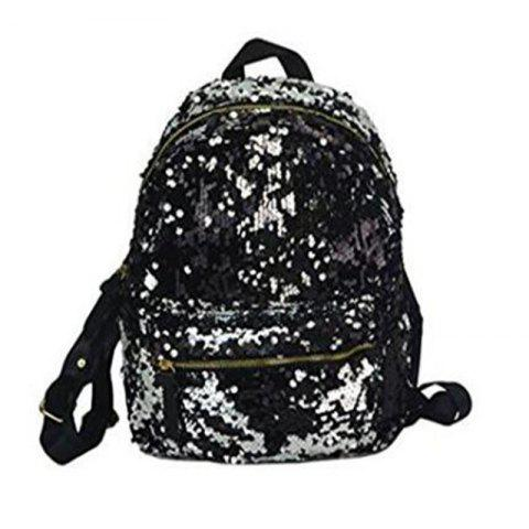 Chic Women Sequins Backpack Fashion Casual Scholl Bag Purse Satchel Black
