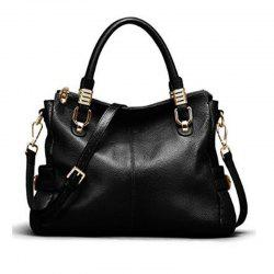 Womens Genuine Leather Vintage Tote Shoulder Bag Top-handle Crossbody Handbags Large Capacity Ladies' Purse Black -