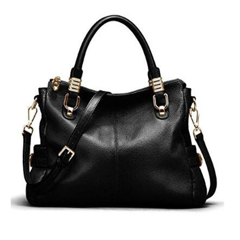 Latest Womens Genuine Leather Vintage Tote Shoulder Bag Top-handle Crossbody Handbags Large Capacity Ladies' Purse Black
