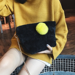 Small Square Bag Hair Ball Chain Shoulder Bag Cross Wild Package -