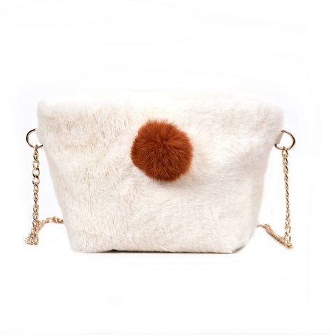 Unique Small Square Bag Hair Ball Chain Shoulder Bag Cross Wild Package