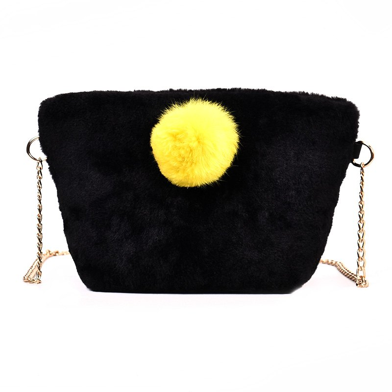 New Small Square Bag Hair Ball Chain Shoulder Bag Cross Wild Package