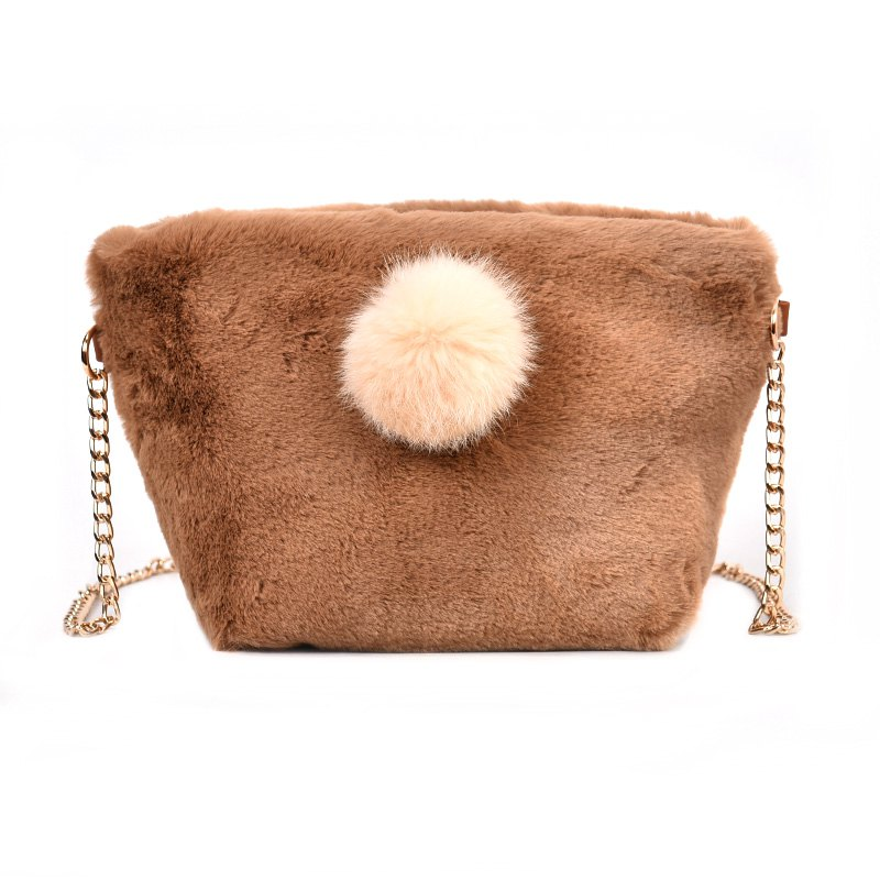 Fancy Small Square Bag Hair Ball Chain Shoulder Bag Cross Wild Package