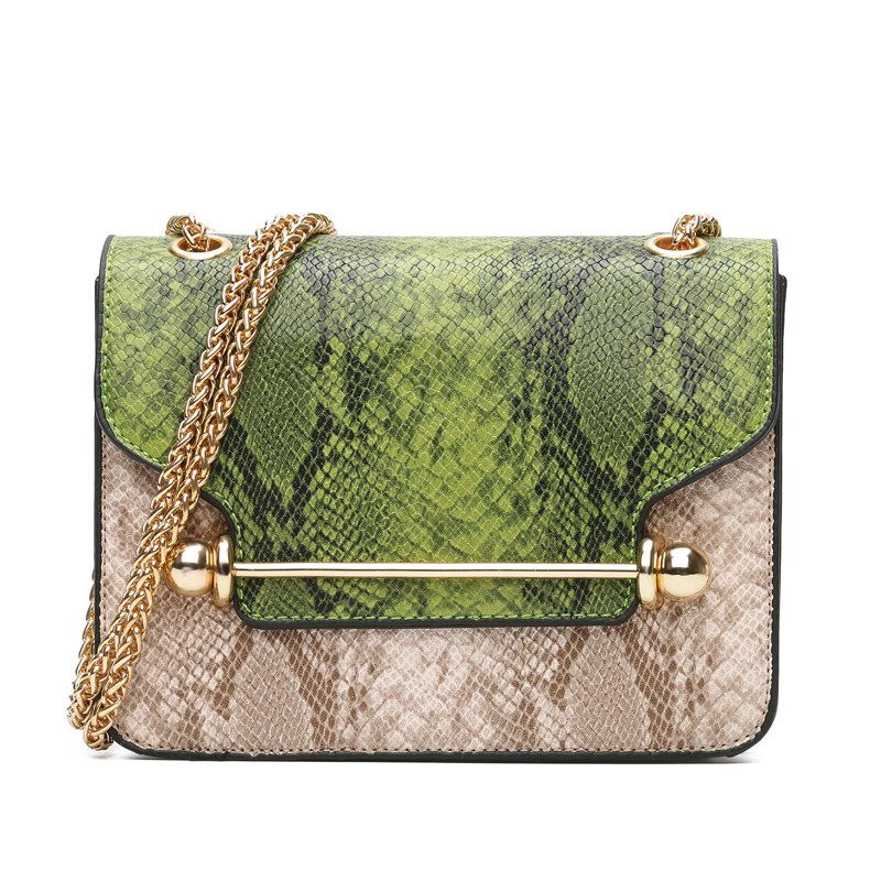 Fancy Snake Stripe Chain Hit Color Cross Messenger Bag Wild Small Square Package