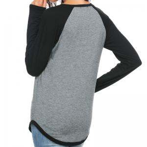 Simple Stitching Color Long Sleeve Render Unlined Upper Garment T-Shirt -