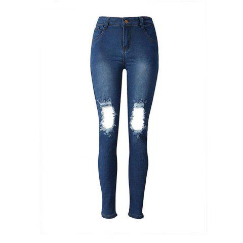 Latest 2018 New Pure Color Ripped Jeans
