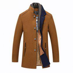 Winter Thicken Wool Mid Long Business Casual Stylish Coat Slim Fit Jacket for Men -