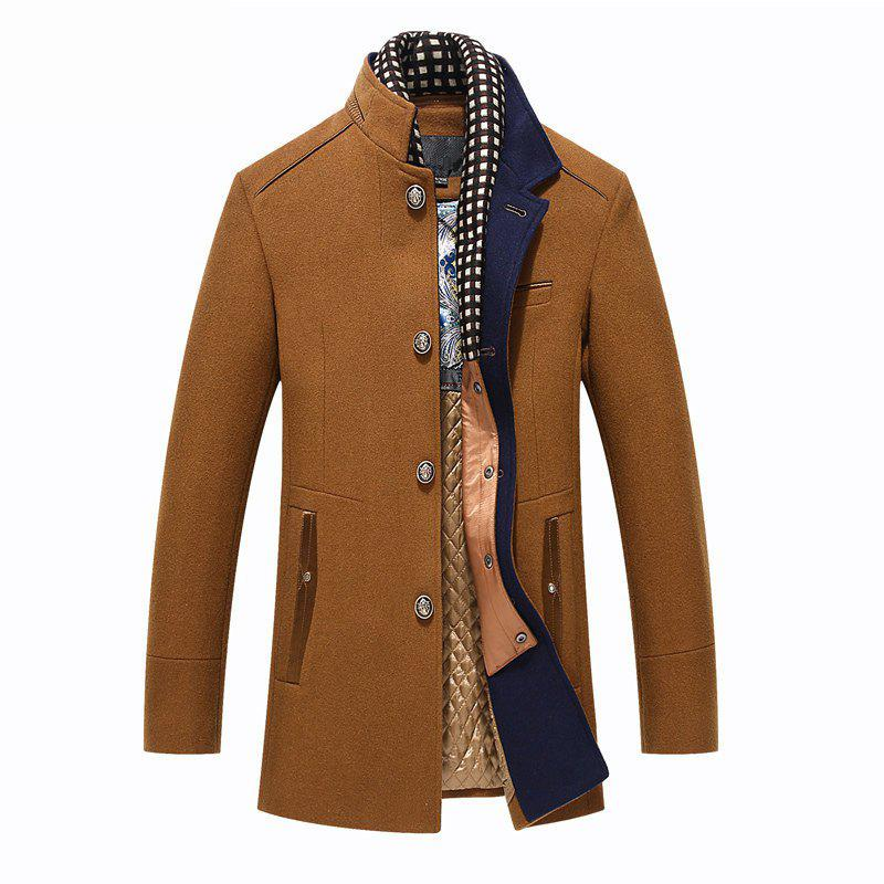 New Winter Thicken Wool Mid Long Business Casual Stylish Coat Slim Fit Jacket for Men