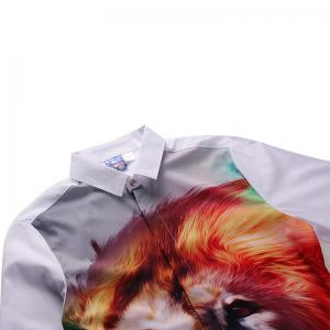 3D Cartoon Lion Print Button Men'S Long Sleeve Shirt -