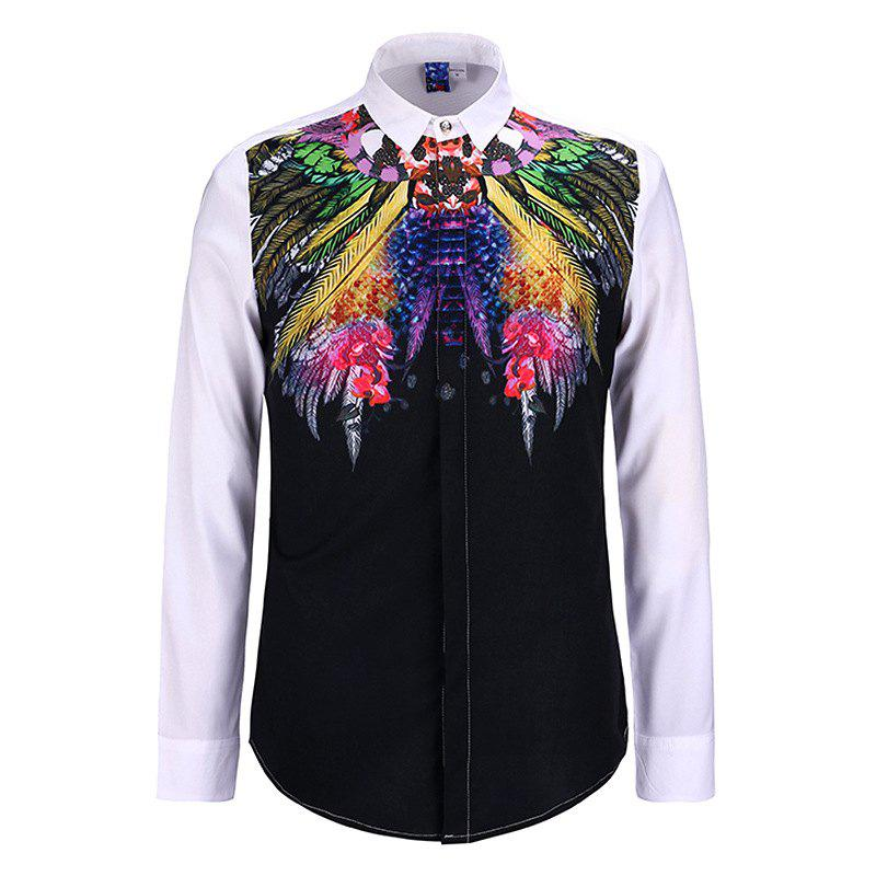 Trendy 3D Personalized Print Creative Doodle Button Unlined Men'S Long Sleeve Shirt