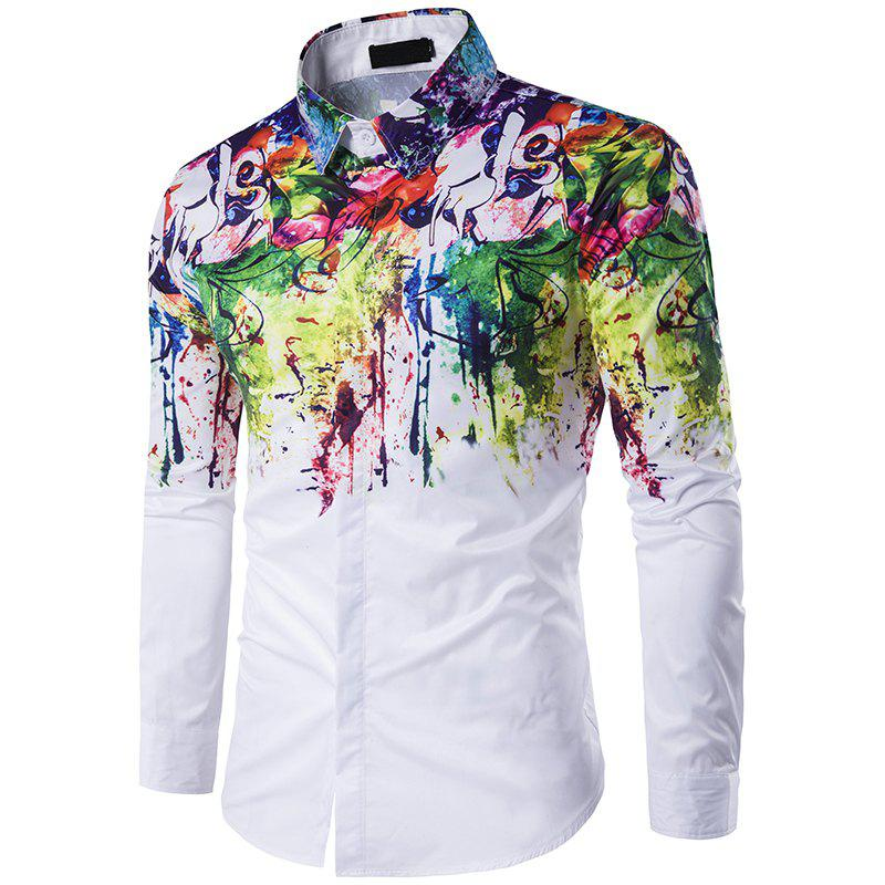 Discount New Mens Long Sleeve Shirt Lapel Flowers Splashed Ink Paint C216