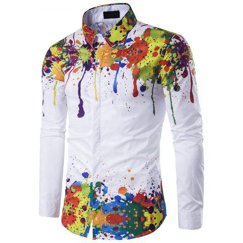 Sale Men'S Fashion Shoulder Hem 3D Long Sleeve Shirt printing InkC198