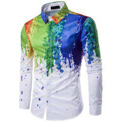 Korean Men 3D Ink Splash Paint Color Polo Shirt C197 -