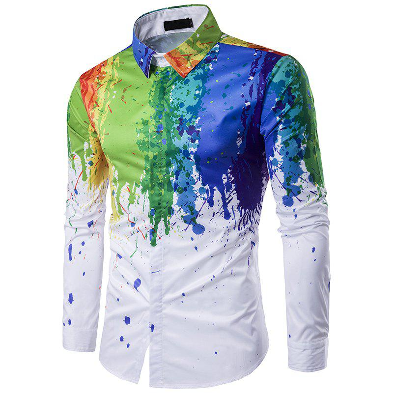 Cheap Korean Men 3D Ink Splash Paint Color Polo Shirt C197