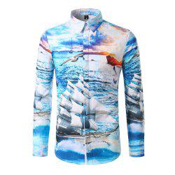 Man Holiday Fashion Sea Sailboat Digital Print Long Sleeved Shirt DC301 -