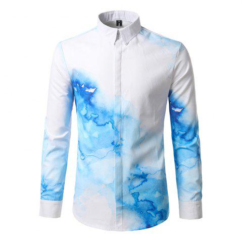 Hot The New Spring Fashion Digital Printing Leisure Male Self-Cultivation Shirt DC67