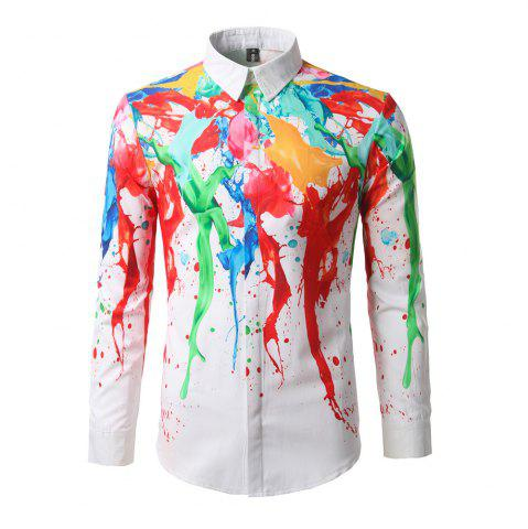 Cheap New Fashion Color Ink Printing Men'S Shirt DC66