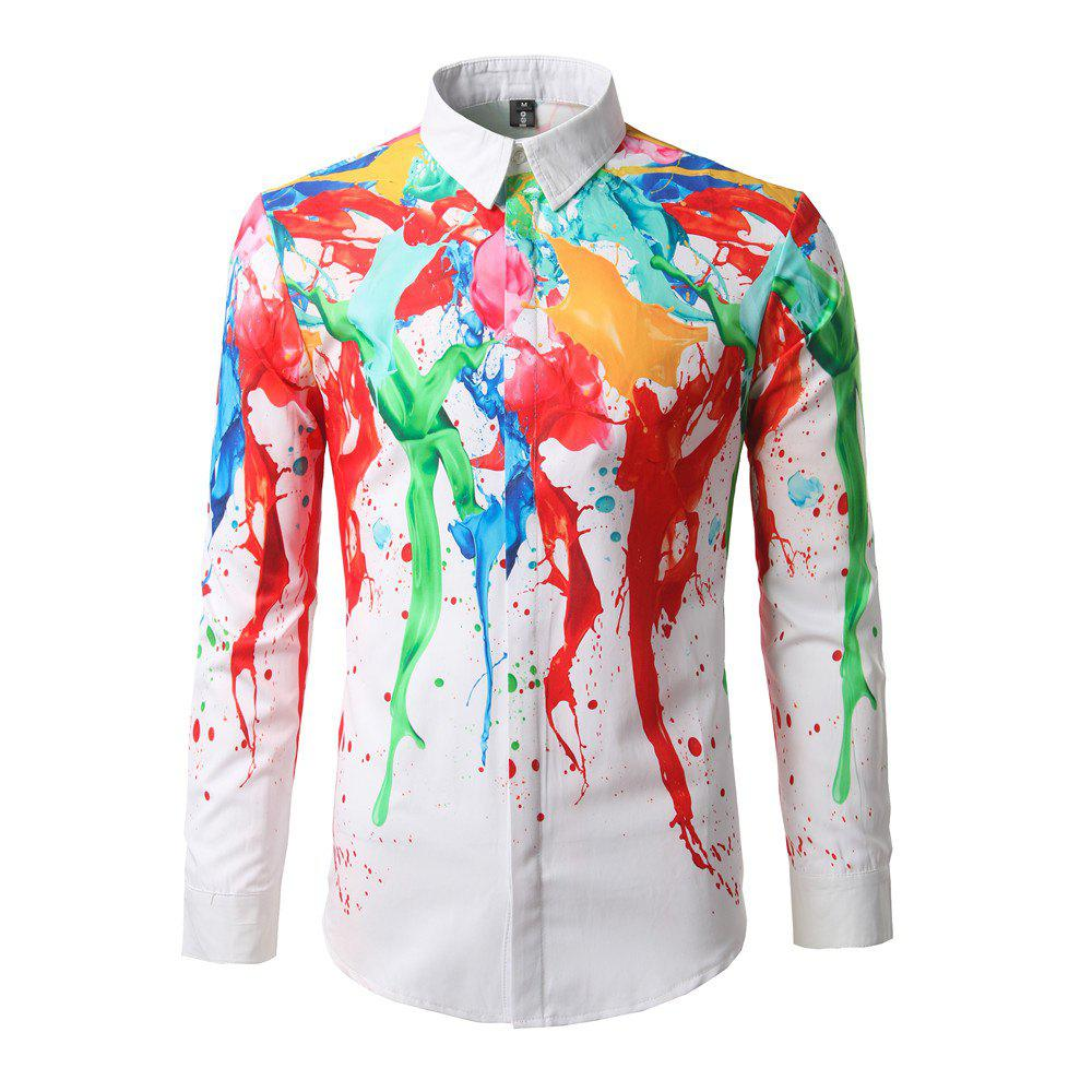 Online New Fashion Color Ink Printing Men'S Shirt DC66